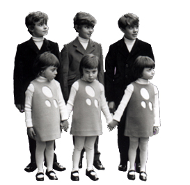 Pierre Cardin: 1966 - He gathers all the triplets in Paris to show his first children's collection.