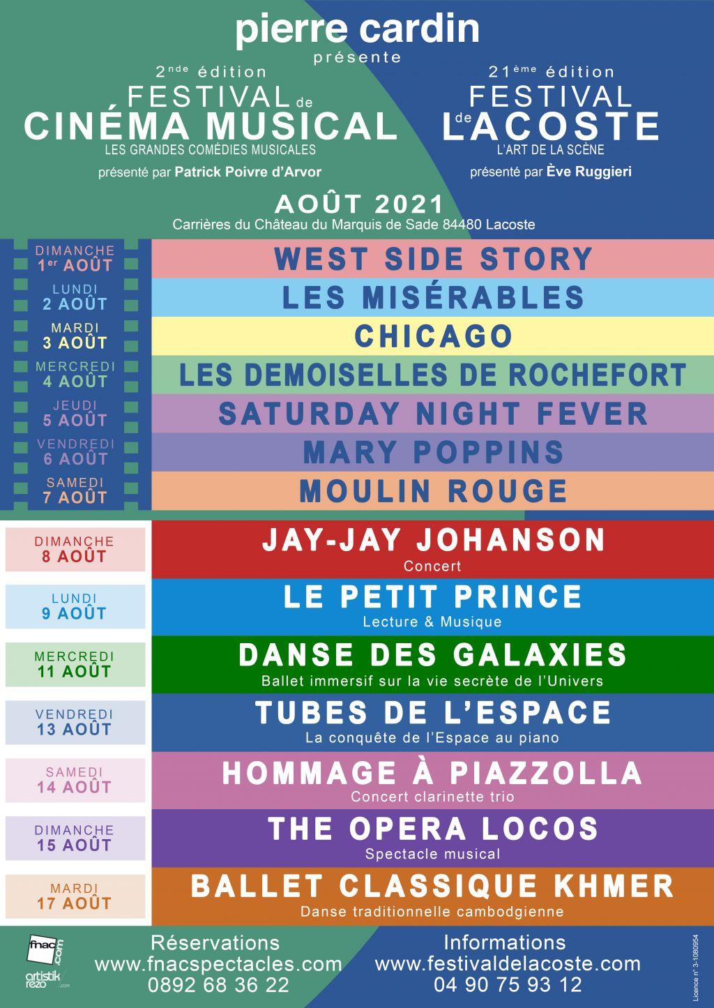 Festival de Lacoste 2021. 21ème édition du Festival de Lacoste  2ème édition du Festival du Cinéma Musical Château de Lacoste (Luberon) - 2021