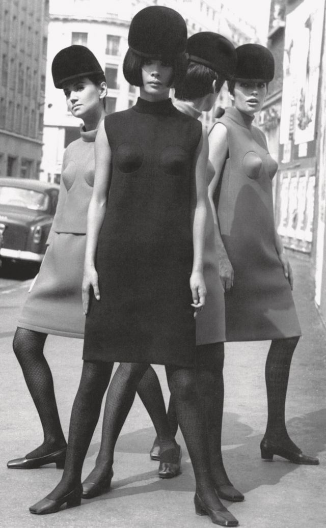 PIERRE CARDIN. Cocktail dresses with conical breasts, 1966 - 2017