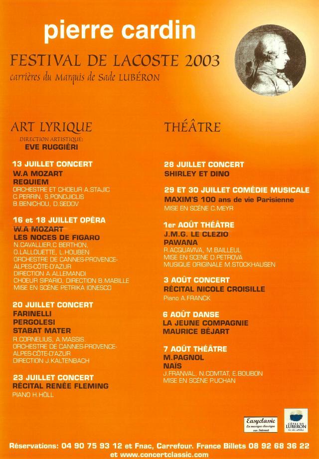 Festival de Lacoste 2003. www.festivaldelacoste.com -