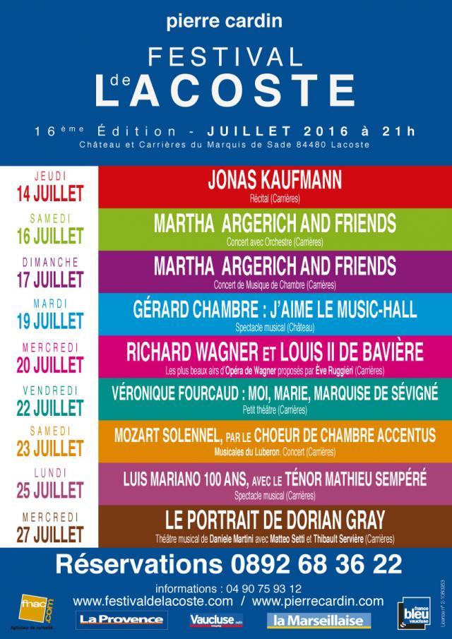 Festival de Lacoste 2016. www.festivaldelacoste.com -