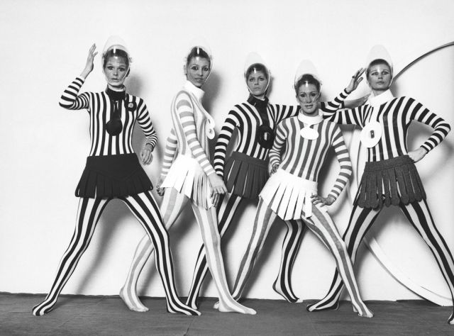 PIERRE CARDIN. Leotard striped under skirts in wool with straps, haute couture collection autumn-winter 1968 - 2017