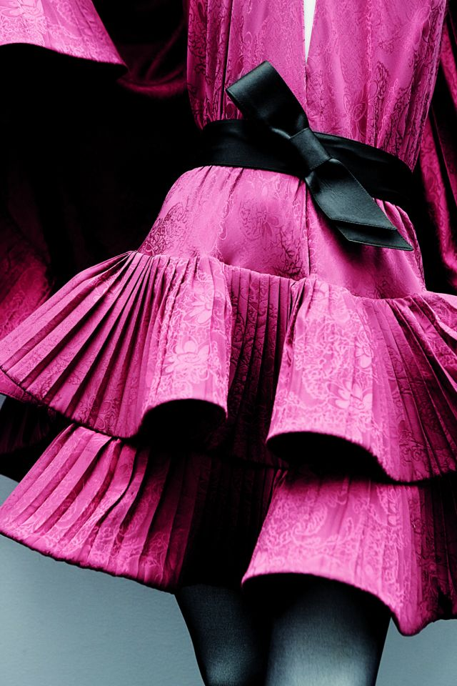 "PIERRE CARDIN. Pleated silk dress and satin belt with a ""Cocteau"" bow, 1991 - 2017"