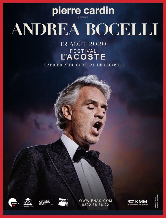 Andrea Bocelli. Mercredi 12 août 2020 - Concert   Pierre Cardin accueillera le 12 août prochain dans le cadre prestigieux de son château de Lacoste,... -
