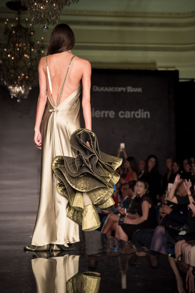 Fashion Show at the Hotel des Bergues - Switzerland. At the invitation of the Swiss bank Dukascopy Bank, Pierre Cardin presented his last collection to... -