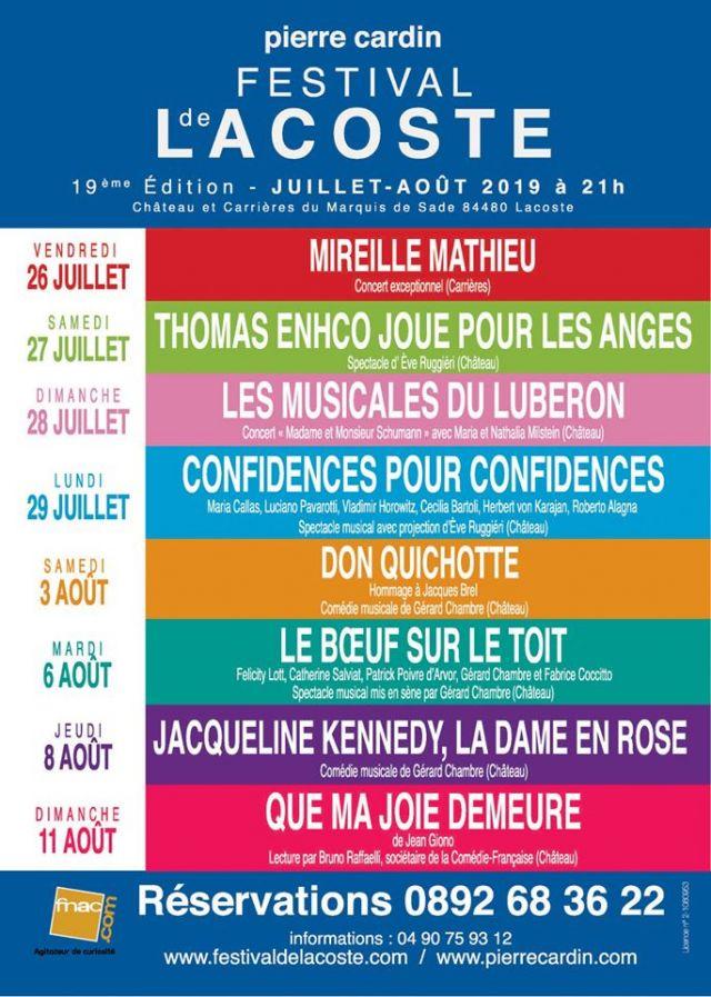"""FESTIVAL DE LACOSTE 2019. """"Au coeur du Luberon, Lacoste, d'une lumineuse beauté, accueillera cette année, le 19ème Festival d'art lyrique et de... - 2019"""