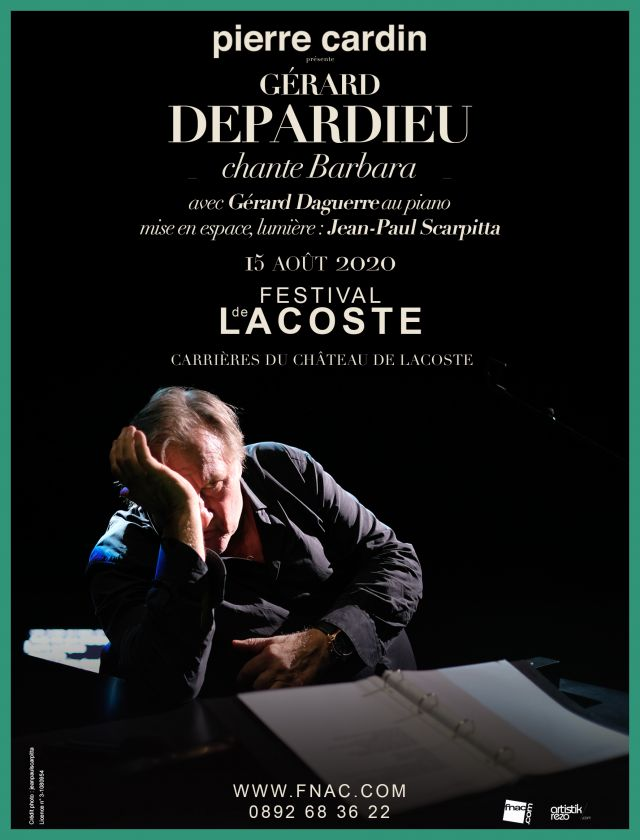 Gérard Depardieu chante Barbara. Samedi 15 août 2020 - Concert avec Gérard Daguerre au piano  Gérard Depardieu chante Barbara accompagné au piano... -