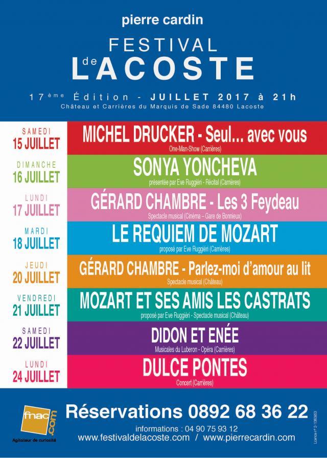 """Festival de Lacoste 2017. """"Au coeur du Luberon, Lacoste, d'une lumineuse beauté, accueille cette année, le 17ème Festival d'art lyrique et de théâtre. Dans... - 2017"""