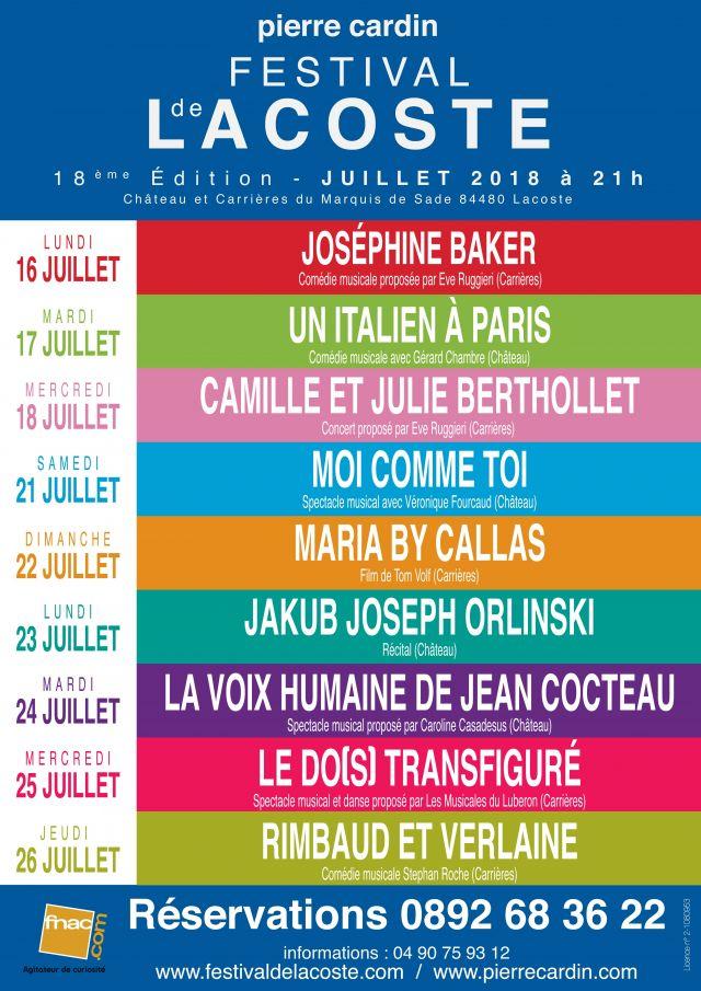 Festival de Lacoste 2018. Affiche de la 18ème édition du Festival de Lacoste - 2018