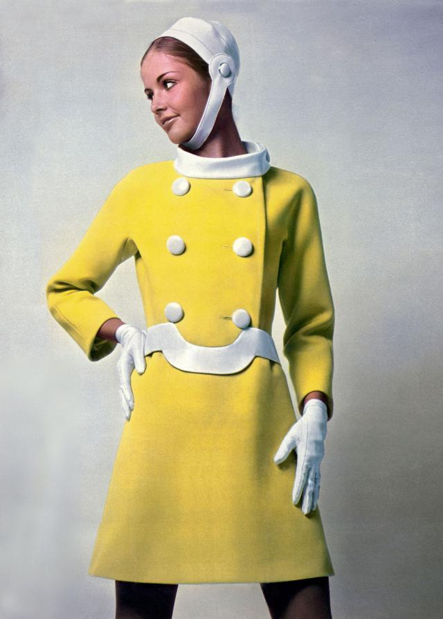 1969. Pierre Cardin Haute Couture Creation Dress-Coat & hat -