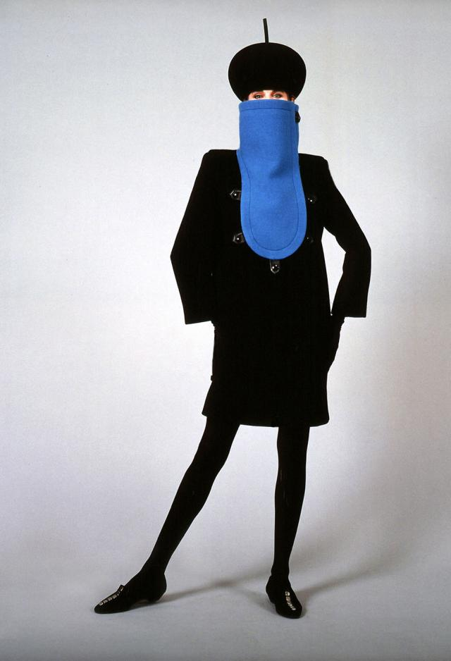 1990. Pierre Cardin Haute Couture Creation Coat and hat -