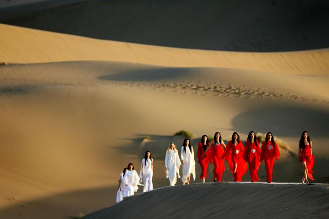 2007. Pierre Cardin Haute Couture Creation Fashion show in the Gobi Desert -