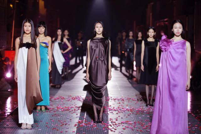 Fashion show at Railways museum in Beijing. Haute couture Creation - 2015