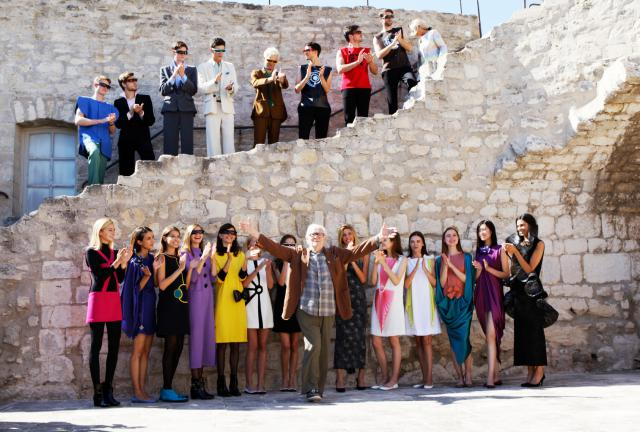 Mr. Pierre Cardin and his models. Pierre Cardin Haute Couture Catwalk at marquis de Sade's castle in Lacoste - 2016