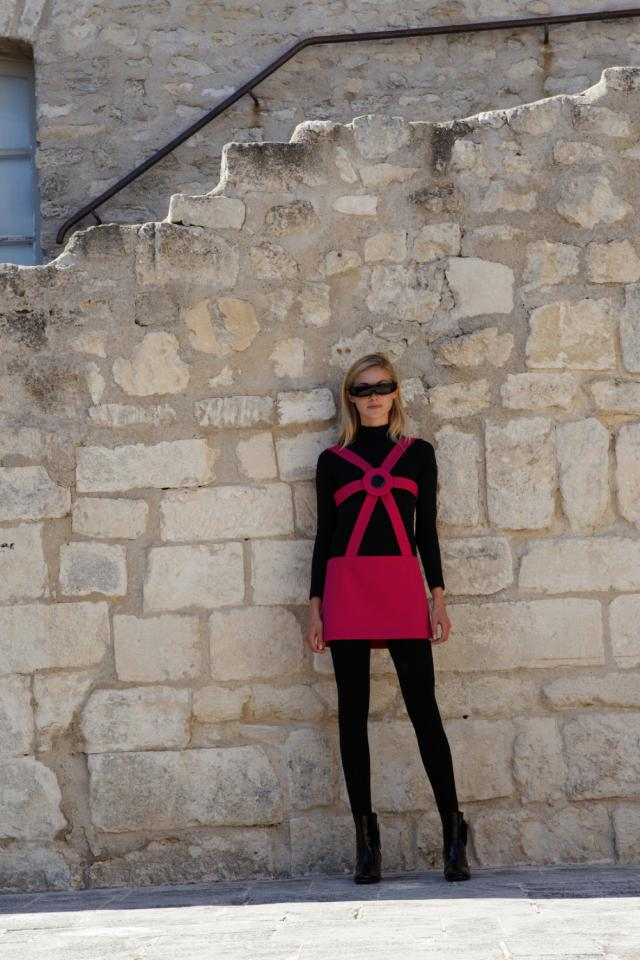 Collection 2016. Pierre Cardin Haute Couture Catwalk at marquis de Sade's castle in Lacoste -