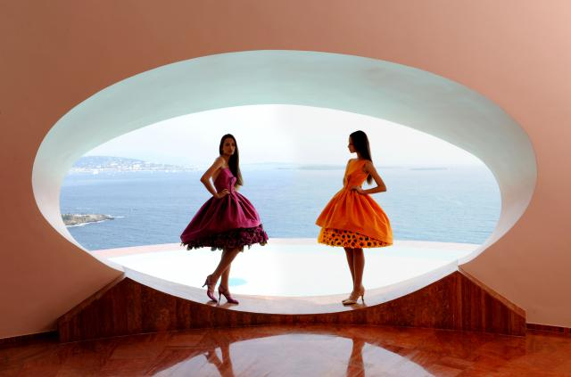 "2008. Pierre Cardin Haute Couture Creation ""Palais Bulles"" shooting Sunflower dress -"