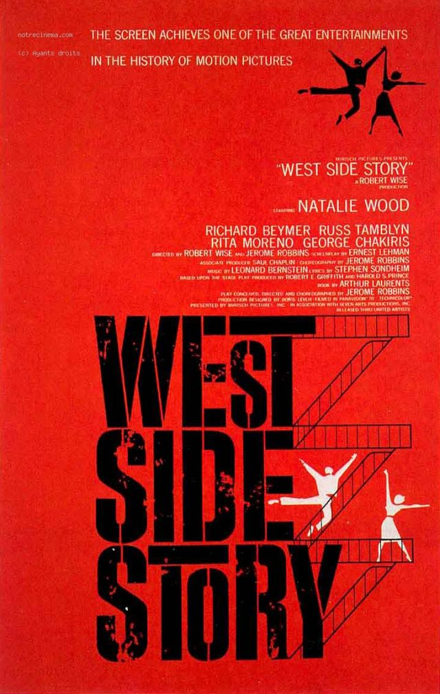 West Side Story. SAMEDI 1ER AOÛT À 21H15   Dans le West Side, bas quartier de New York, deux bandes de jeunes s'affrontent, les Sharks de Bernardo et... -